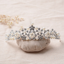 New design pearl water drill accessories jewelry bride wedding beauty contest <strong>crown</strong>
