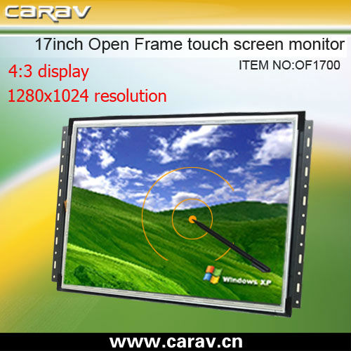17 inch metal case open frame VGA input touch screen lcd monitor