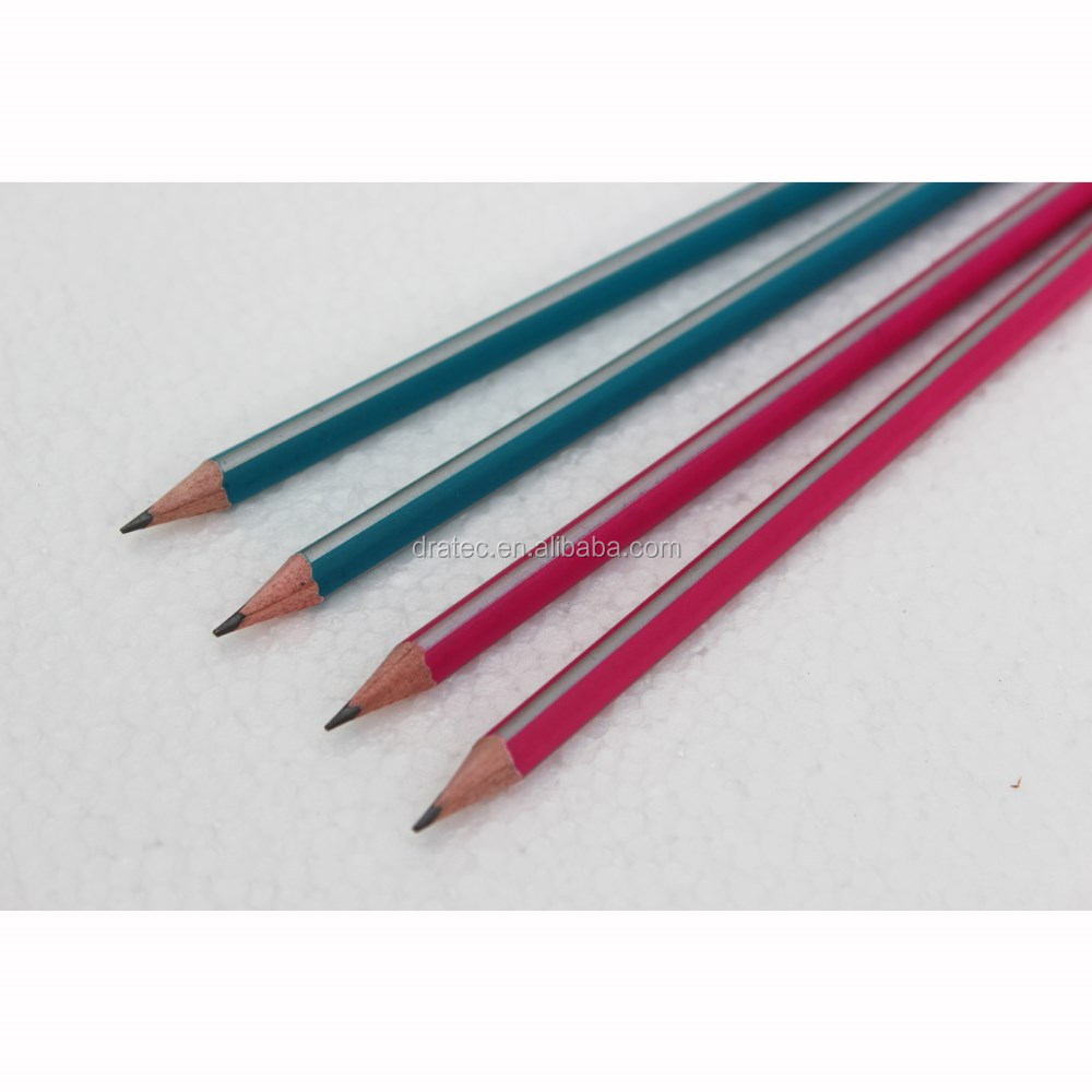 High quality triangular pencils with stripe coating, with eraser tip, wooden pencils