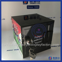 China supplier acrylic donation box / black collection box with printing logo