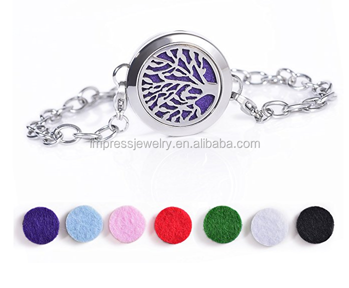 Aromatherapy Essential Oil Diffuser Pendant Necklace Stainless Steel Locket Pendant Bracelet