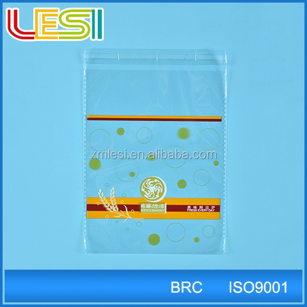 bakery bread package OPP plastic poly bag with self adhesive