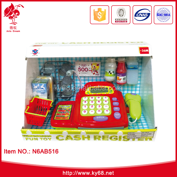 B/O electronic cash register Pretend play toys Happy kid toy