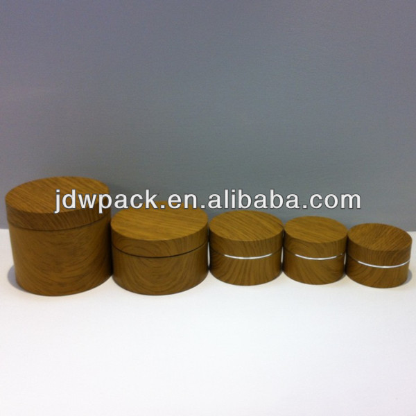 round acrylic jar cosmetic jar with wood spray