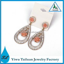 Fashion Crystal Drop Earrings Pink Rose Design Earrings