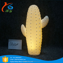 Pure white fashion ceramic cactus led lights for decoration