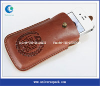 Metal Button Closure Pouch Leather Phone Case With Stamping Logo Wholesale