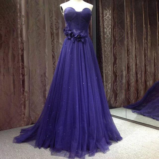 purple graceful sweetheart strapless full length party dresses for girls of 18 years old
