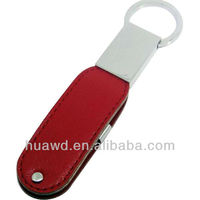black leather usb flash drive with key chain