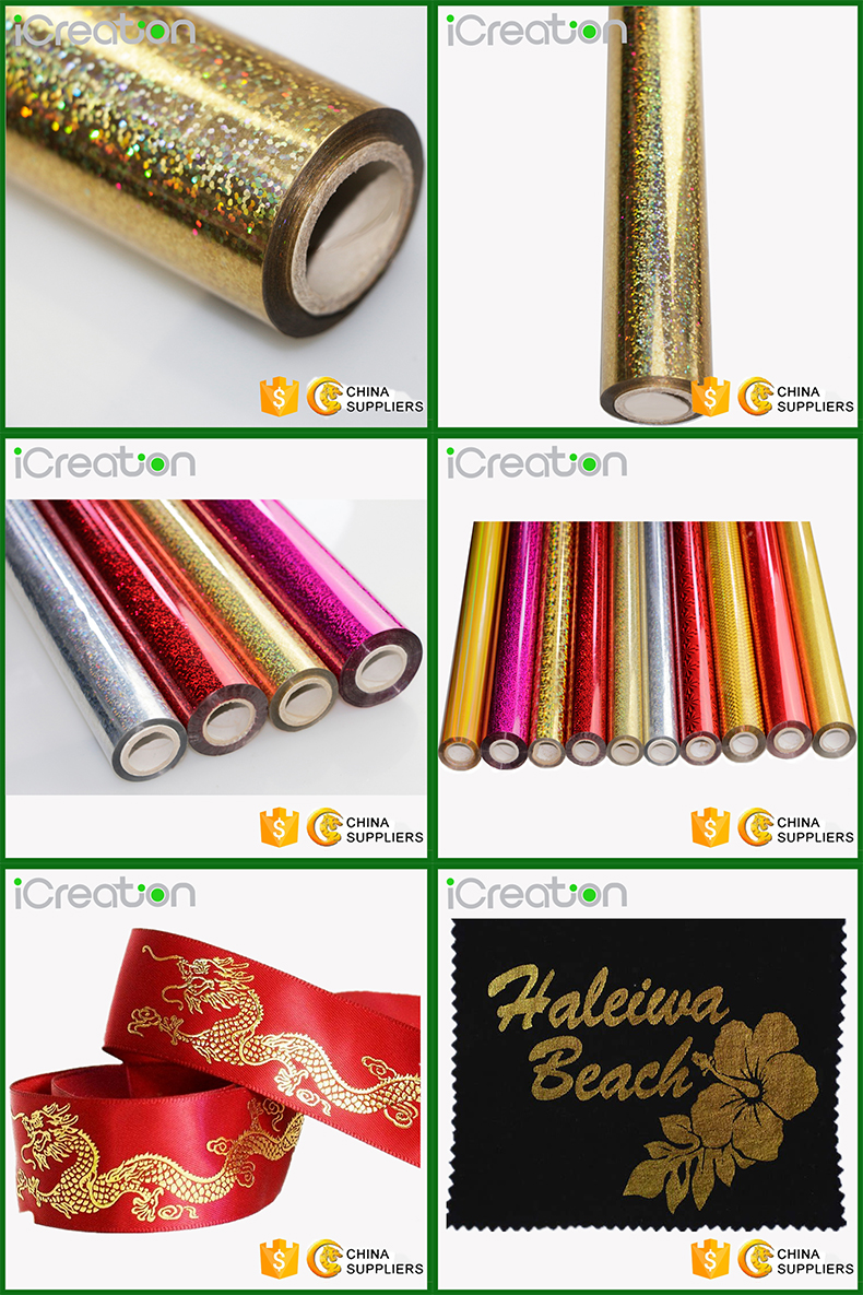 Laser Holographic Crystal Spots Gold/Golden Hot Stamping Foil Roll for Textile/Clothing/T-Shirt/Fabrics Heat Transfer Film