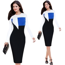 e-bay hot sell contrast color long sleeves slim fit waist pencil dress wholesale clothing