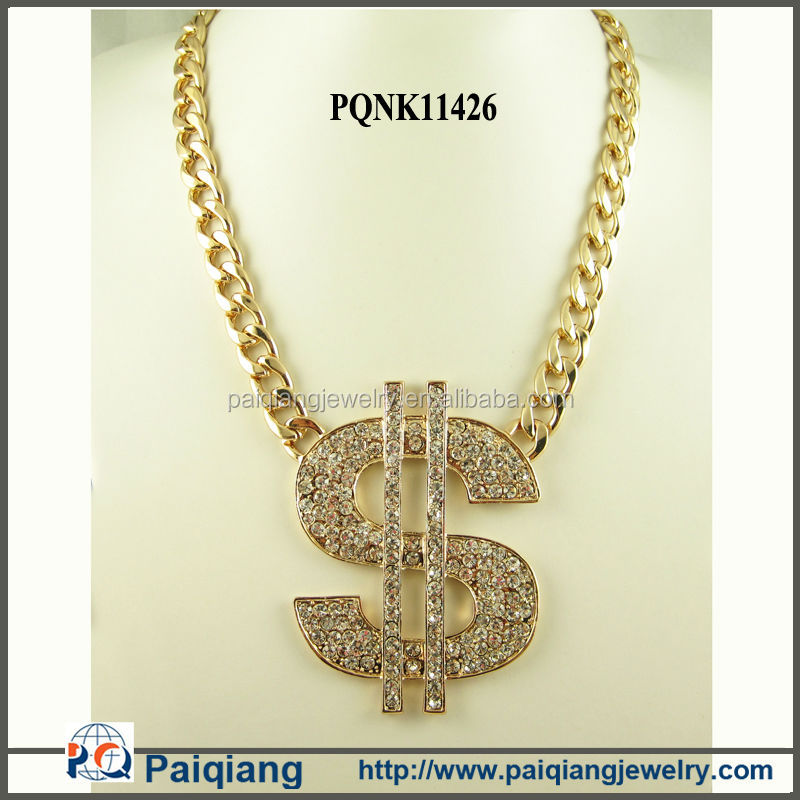 Unique design gold plated rhinestone dollar sign pendant necklace