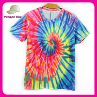 Short Sleeve 100% Cotton top tee Multi-Color Tie Dye T-Shirts