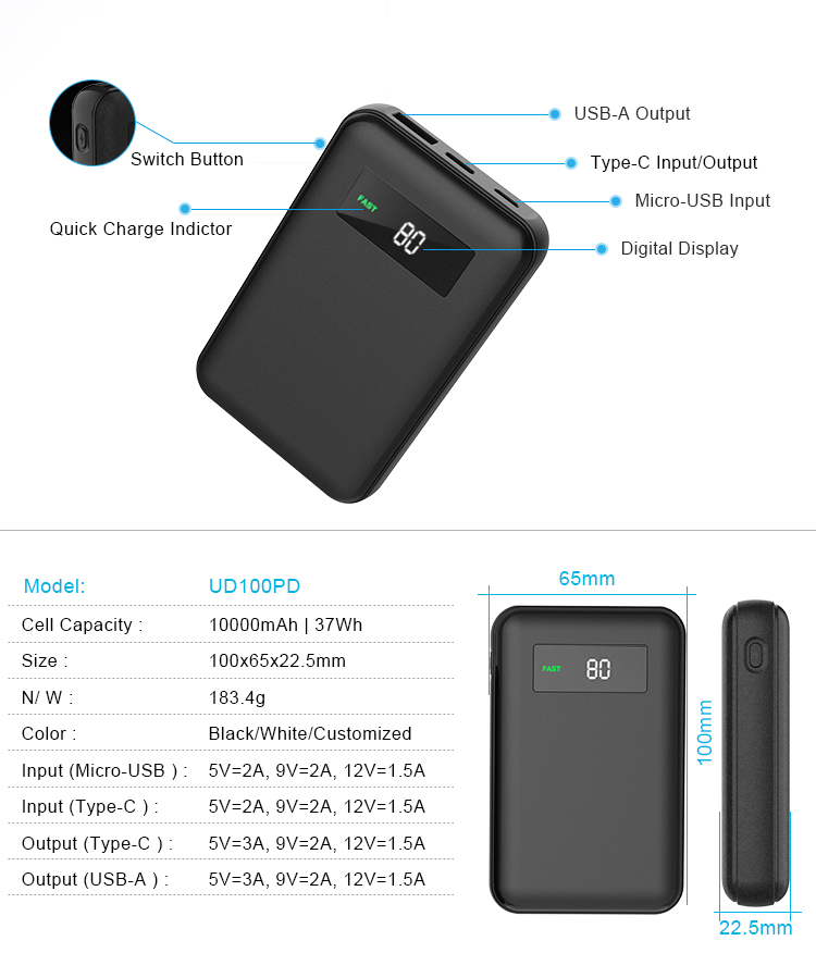 Small Size Big Capacity Type C Fast Quick Phone Charger 10000mah Led Digital Mini 10000 Display Power Bank