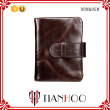 Wholesale High Quality Luxury Casual Business Style Genuine Leather Card Holder Wallet with Zipper Buckle