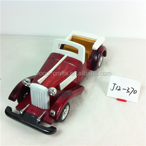Toy vehicle wooden art crafts high quality painted child mini car models collectable hobbies