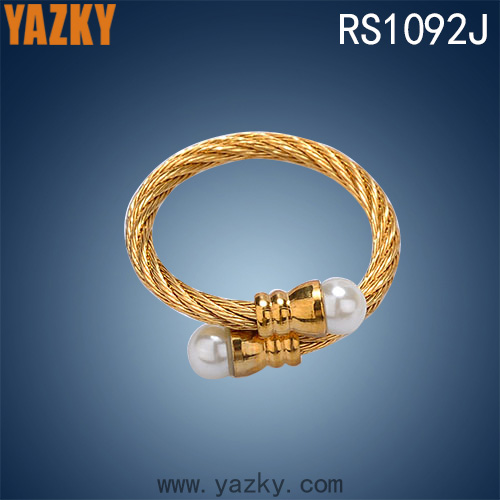Fashion 18K gold plated stainless steel jewelry ring wire type ring with pearl