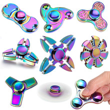 Wholesale Colorful Rainbow Fidget Spinner Hand Spinner Toys With Stainless Steel Bearing