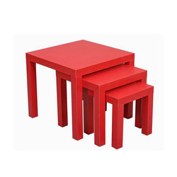 Red square small end table set of 3 tables