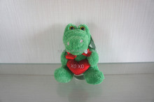 cute stuffed animals toy with love heart, plush toy frog,elephant,lion,leopard
