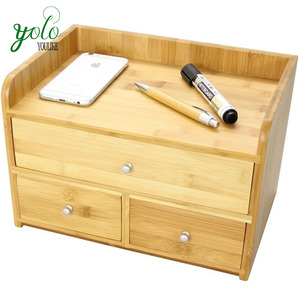 Durable Tidy Stationery Storage Bamboo Desk Organizer with 3 Drawers