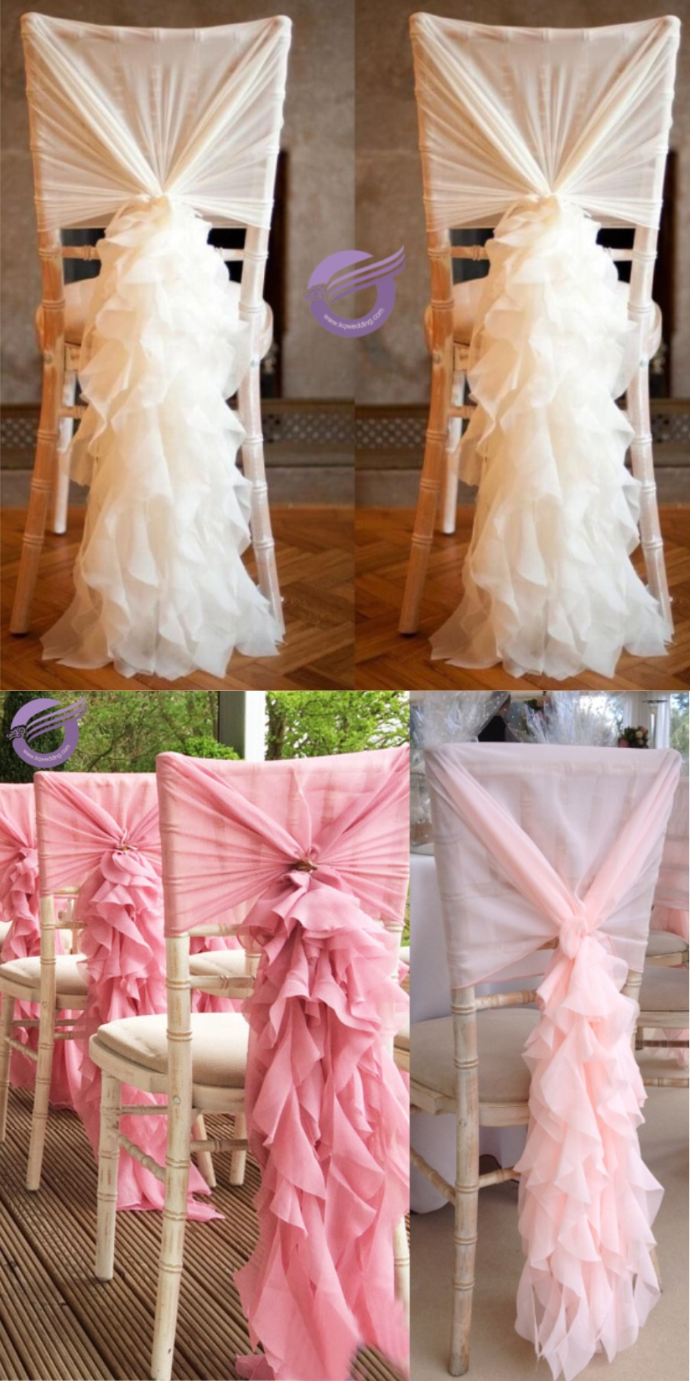 19869 Wedding decoration Curly willow chiffon chair covers for plastic chairs