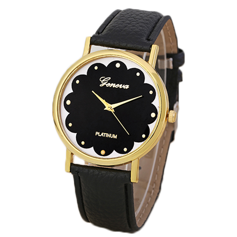 Black Flower designer Face Women's Geneva Quartz Watches Pu leather Strap Lady Watch Geneva