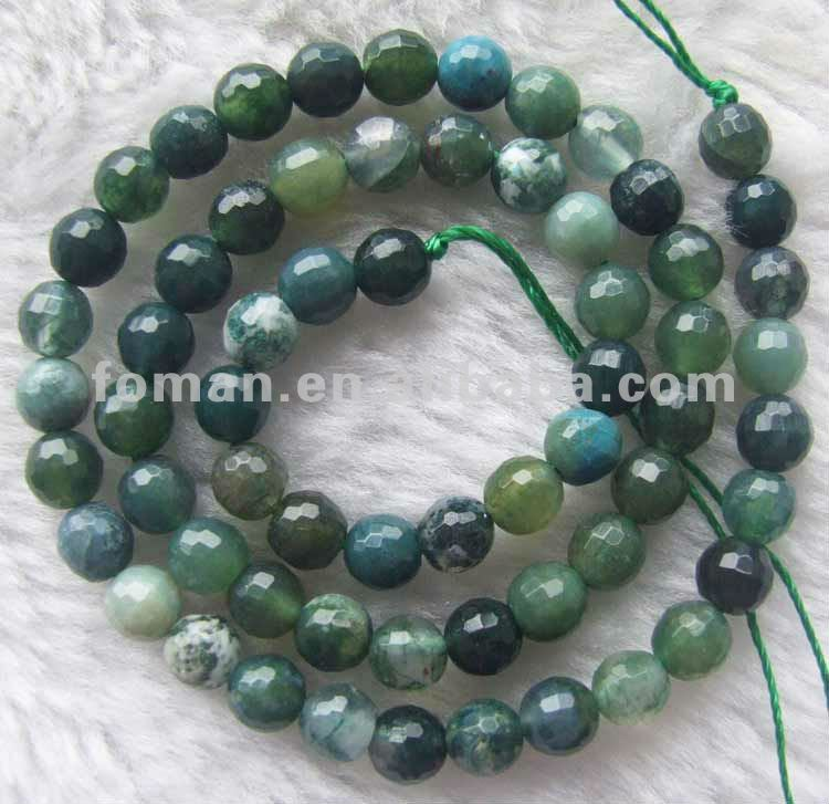 12mm round faceted moss agate beads loose gemstone price list