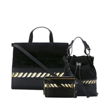 women quilted suede tote bags black fabric handbags set women's bag