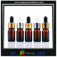5ML Amber Bottle Wholesale with aluminum screw cap and black/white dropper