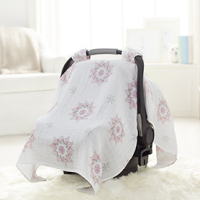 A230 Summer Necessary Printed Cute Sunproof Bamboo And Cotton Car Seat Covers For Infants