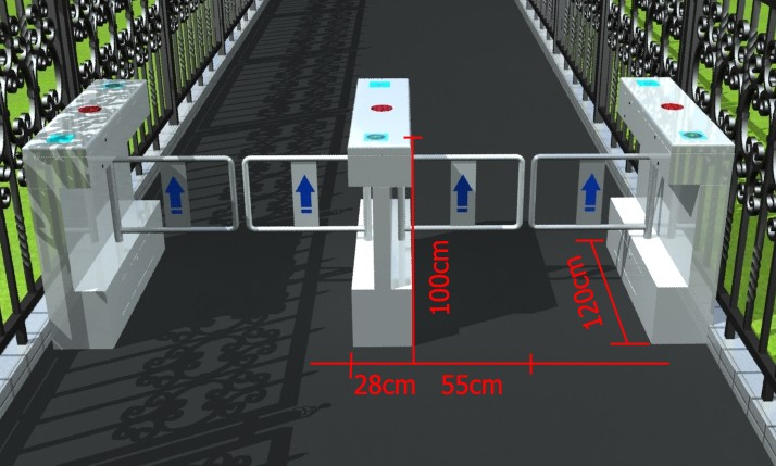 SUS304 Bi-directional Factory Entry and Exit RFID swing barrier gate with management software