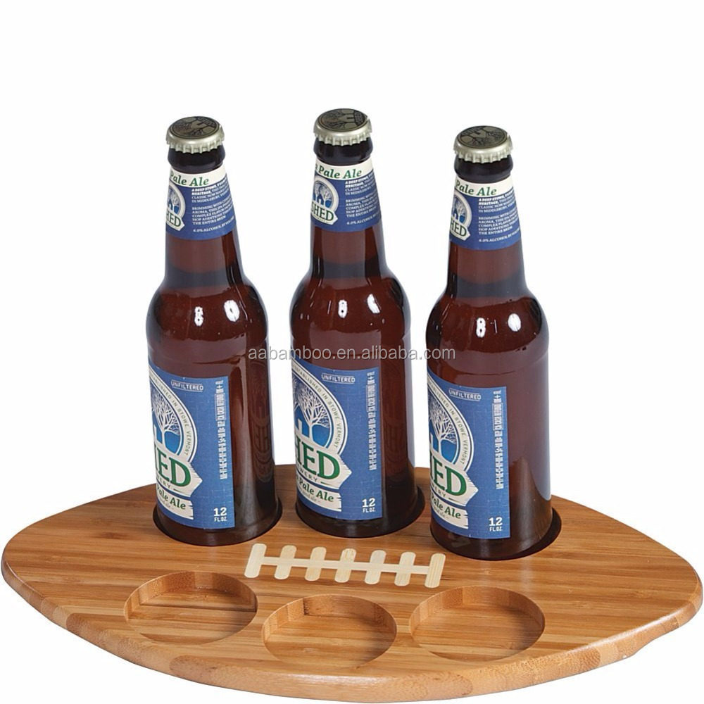 Football Shape Bamboo Beer DripTray Beer Flight with 6 Recessed Holes