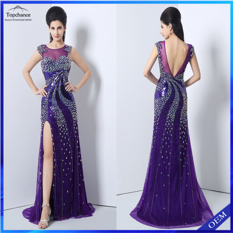 Wholesale Top Quality Heavy Beaded Backless Split Side Purple Chiffon Tulle Evening Dress