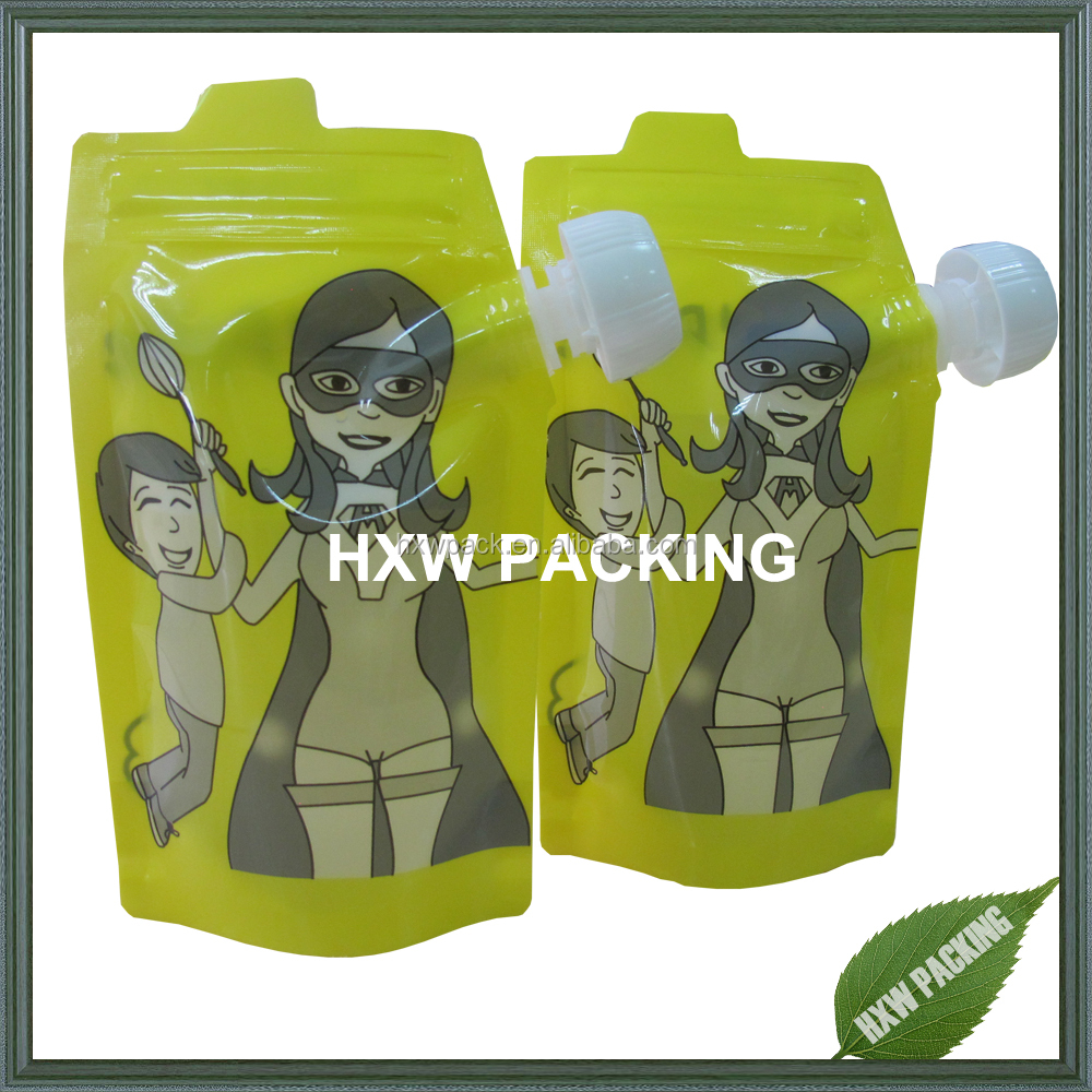 Hot selling double zipper leakproof stand up liquid pouch/water bag with spout cap