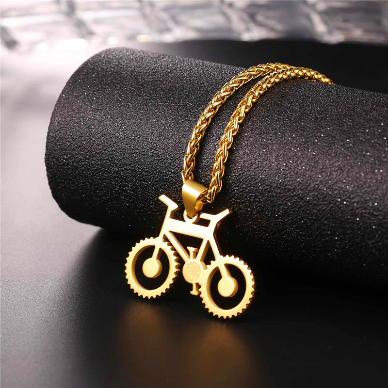 Coolfel Bicycle Necklace Black Color Stainless Steel Bike Pendants & Chain For Men/Women 2018 Hot Fashion Jewelry Hippie Rock