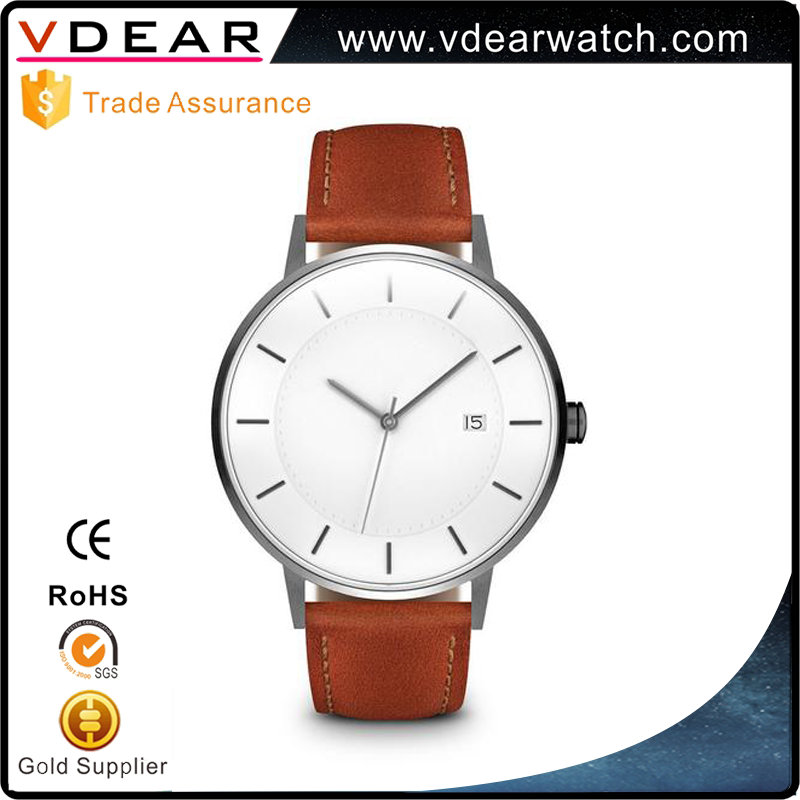 Popular 2017 new mould japan movt tan lesther strap brand your own watch own logo watch for men