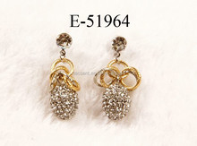 Double plating colors earrings, Golden plating earrings with rhinestone balls, Crystal ball drop earrings