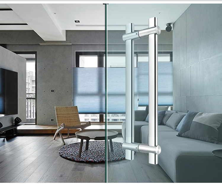 Stainless steel double side adjustable mirror stain main glass door handles in turkey