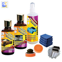 car paint care liquid wax 9H hardness nano ceramic coating and hydrophobic glass coating plus waterless car shampoo and wax
