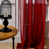 Hood Brand red color window sheer curtain with high quality fabric