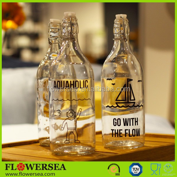Flowersea interesting design home decor 1 L printed crystal glass bottle with lid