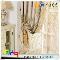 linen look polyester cotton jacquard fabrics- cheap price dubai curtain blackout