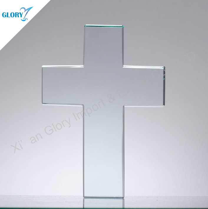 China supply blank cross glass awards gift