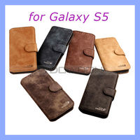 Golden Phoenix Genuine Leather Wallet Case for Samsung Galaxy S5 i9600
