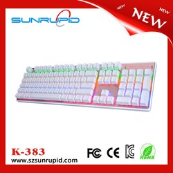 Colorful LED Lighting usb wired mechanical gaming keyboard with detachable wrist rest design