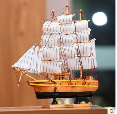 China small wooden sailing boat birthday gifts home decor <strong>crafts</strong>
