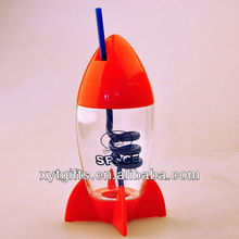 10oz Novelty mini rocket shaped drinking water bottle for kids with Spiral Straw