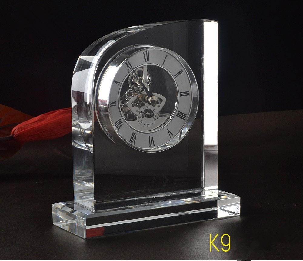 K9 personalized crystal clock crystal funny desk clocks