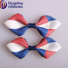 Fashion design custom grosgrain ribbon bows ,red white blue garland christmas bow for hair /gift packing /garment accessories